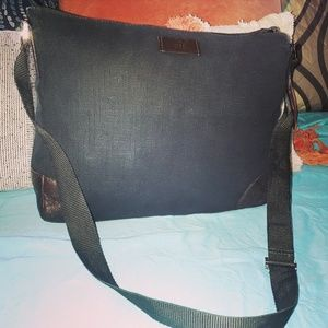 Gucci Guccissima Canvas Leather Messenger Bag